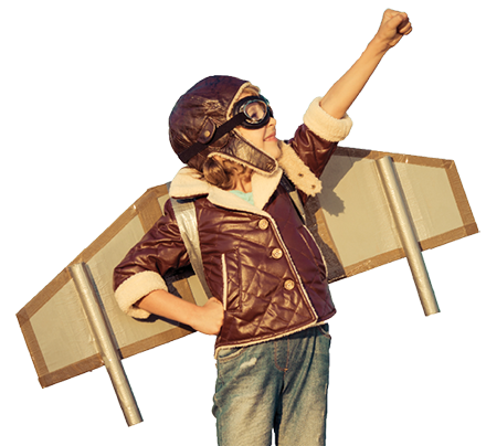Fun kid wearing a pilot's outfit