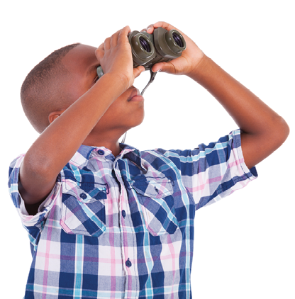 Fun kid with binoculars | Smile Explorers